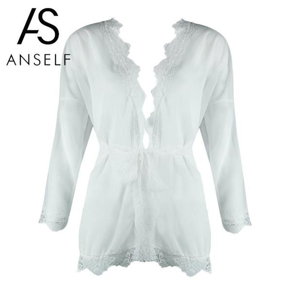 Anself Sexy Women Swimsuit Sheer Mesh Transparent Tunic Blouse Tops Lace Trim Waist Belt Holiday Beach Wear Summer Swimwear 2018