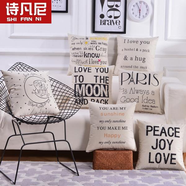 Acquista Lino PillowCase Square Pillow Cover Lettera Stampa Cuscino Camera  Da Letto Sedia Decorativa Federa Casa Tessile A $4.18 Dal Liqodoi | ...
