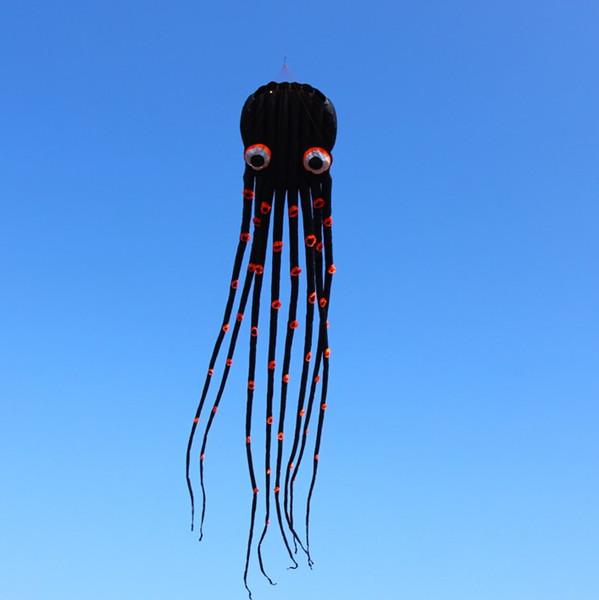 Free Shipping!!15m single Line Stunt Biack Parafoil Octopus POWER Sport Kite