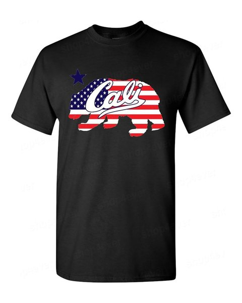 T-shirt Drapeau américain Cali Bear California State Bear Tee shirt