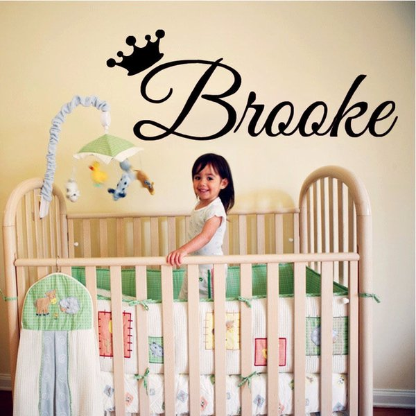 Princess Girls Personalised Name Vinyl Wall Sticker Bedroom Decal For Babygirl Crown Name Custom Baby Bedroom Wall Decal M-134