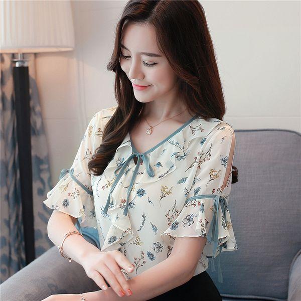 598bd0eedbb9 Women s Tops and Blouses Summer Sweet Ruffle Chiffon Shirt Bow Floral  Printed Shirts Crew Neck Half