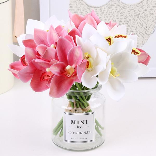 Compre Orquídeas Artificiales Flores Realista Seda Flores Falsas Ramo Simulación Orquídeas Arreglos Florales Para El Banquete De Boda En Casa