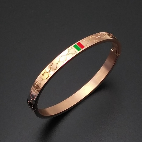 De lujo de oro rosa brazalete marca color raya pulsera de brazalete de acero de titanio con logo marca de moda botón cubierto regalo