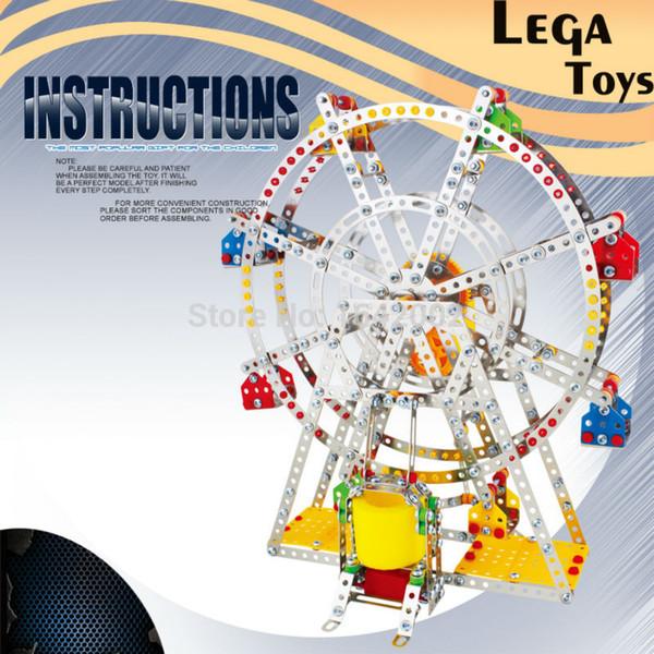 Tuğla Oyuncaklar Demir Komutanı 3D Bulmaca DIY Metal Yapı Taşı MusicLights ile 945 Adet / takım Ferris Wheel, Müzik Kutusu En İyi Çocuk Oyuncakları