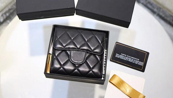 brand new lambskin short wallet women samll pruses famous designer fold wallet for lady 608