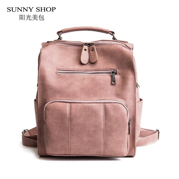 SUNNY SHOP Vintage Stylish Women Backpack Pink Casual Travel Leather Girls Daypack High Quality Female Zipper School Bags A4 Bag