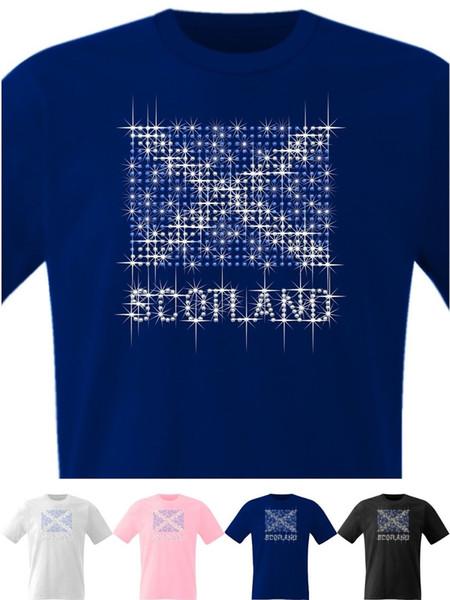 Scotland Hoodie Sweatshirt Flag Sparkling Crystal Sapphire Diamante Rhinestones