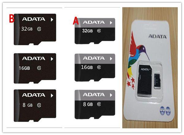 100pcs Real ADATA 2GB 4GB 8GB 16GB 32GB 64GB Class10 Micro SD TF Memory Card SD Adapter Retail Package