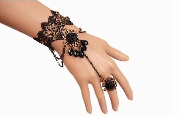 free new Black crystal diamond bracelet women's personality foreign trade band ring jewelry fashion classic delicate elegance