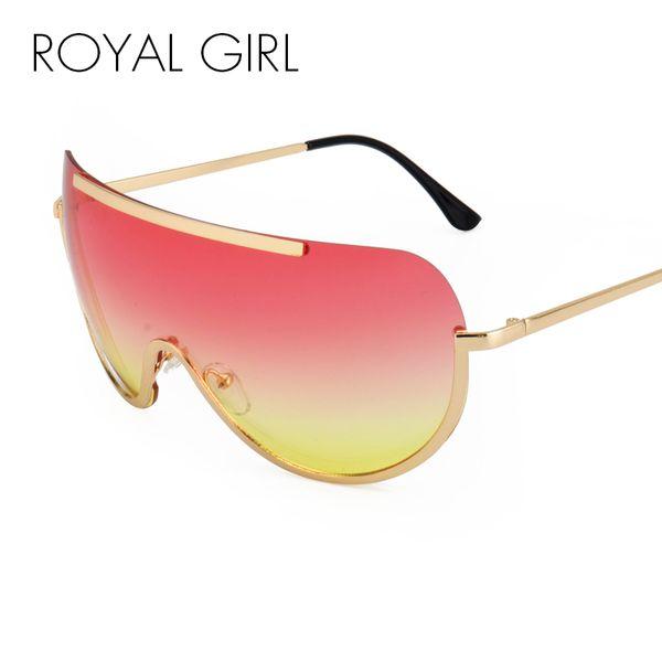 ROYAL MÄDCHEN Retro Inspiriert Frauen Sonnenbrille Oversize Schild Metall Halbrahmen Brillen Rahmen Rosa Gelb Objektiv ss624