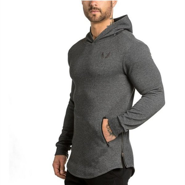 2018 Men Hoodies Pocket Embroider Side Zipper Gyms Bodybuilding Sweatshirt Cotton Sweatshirts Hooded Pullover 5 Color