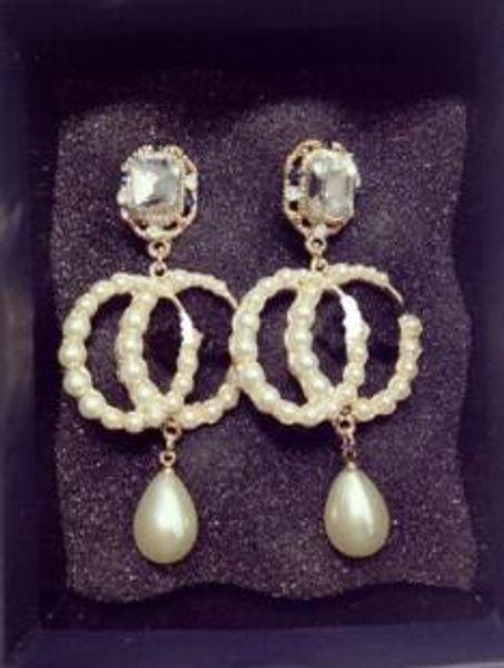 Strass cristal perle lettre boucles d'oreilles femme nouvelle personnalité longues boucles d'oreilles