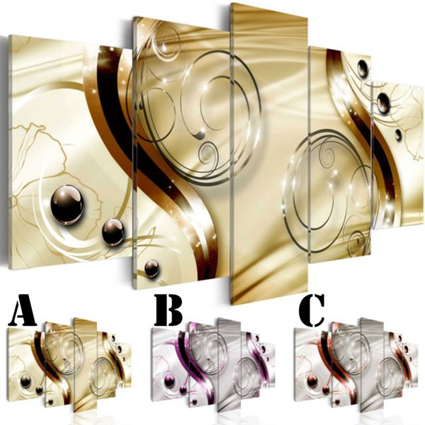 Wall Art Picture Printed Oil Painting on Canvas Unframed Multi-picture Combination 5pcs/set Home Decor Extra Border Curve and Ball