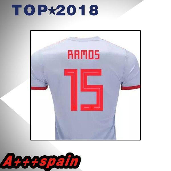 Spain white Soccer Jersey 2017 18 football away shirt 2018 MORATA ISCO ASENSIO RAMOS SILVA PEDRO TORRES A.INIESTA FABREGAS Football uniform