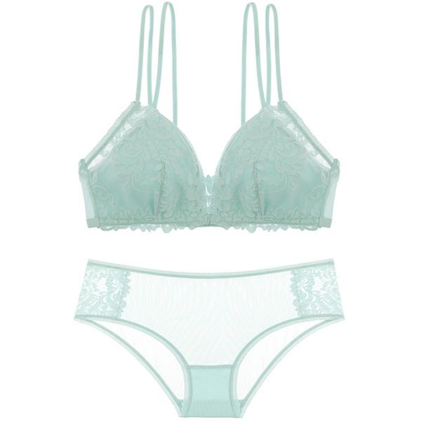 Euramerican new bralette Front Closure sexy women lingerie set floral lace thin sleepwear female underwear Beauty back bra set