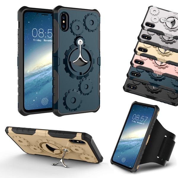 Mechanical Gear TPU PC Hybrid Case Sports Gym Running Armband Stand Holder Armor Cases For iPhone 8 7 6 Plus X Samsung S8 S9 Retail Package