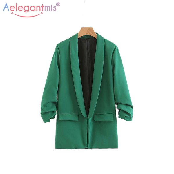 Aelegantmis Office Women Casual Cardigan Blazer Jackets Spring Autumn New Solid Color Ladies Blazers Notched Half Sleeve Outwear