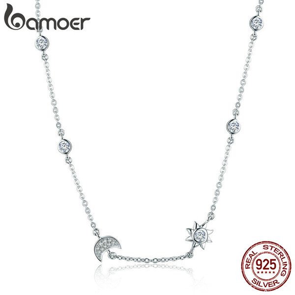 100% 925 Sterling Silver Sparkling Moon and Star Exquisite Pendant Necklaces for Women 925 Silver Jewelry Gift