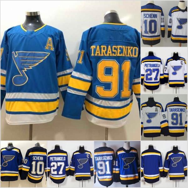 2018 St. Louis Blues Jersey Hombres 27 Alex Pietrangelo 91 Vladimir Tarasenko 10 Brayden Schenn Hockey Jerseys bordado bordado