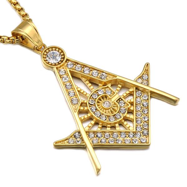 Collane simbolo massonico in acciaio inossidabile Collana pendente Micro strass per uomo in argento placcato in oro Catene in titanio per le donne Gioielli punk