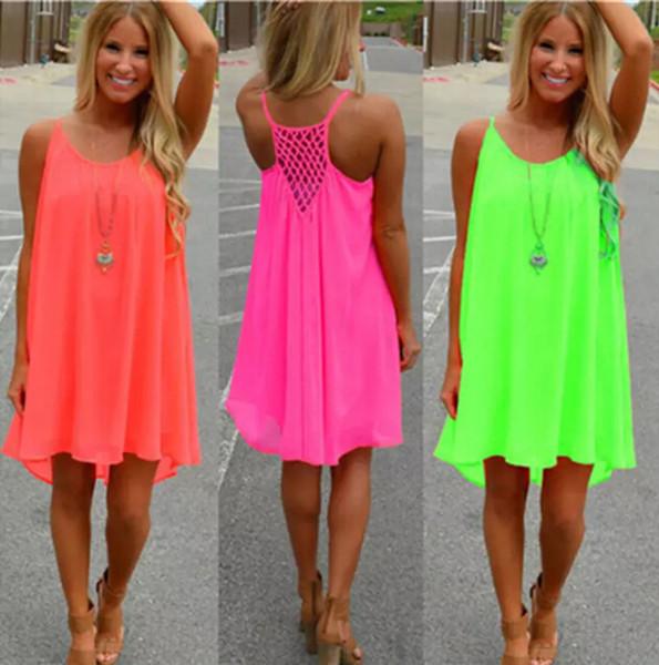 Women Sexy Loose Spaghetti Strap Dress Beach BOHO Dress Summer Bright Color Sleeveless Chiffon Mini Dress Women Clothing Plus Size S-5XL