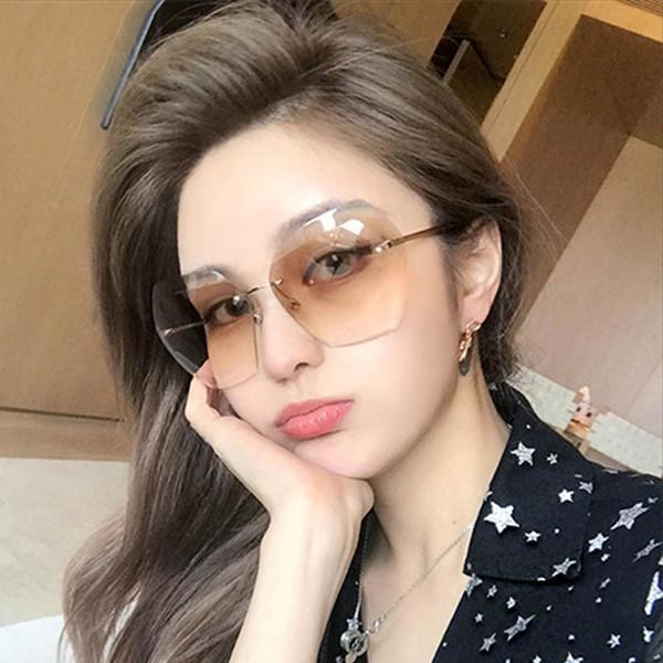 Gradient color Trimming Glasses Eyewear Accessories Fashion Women Sunglasses Oversized Outdoor Oculos de sol