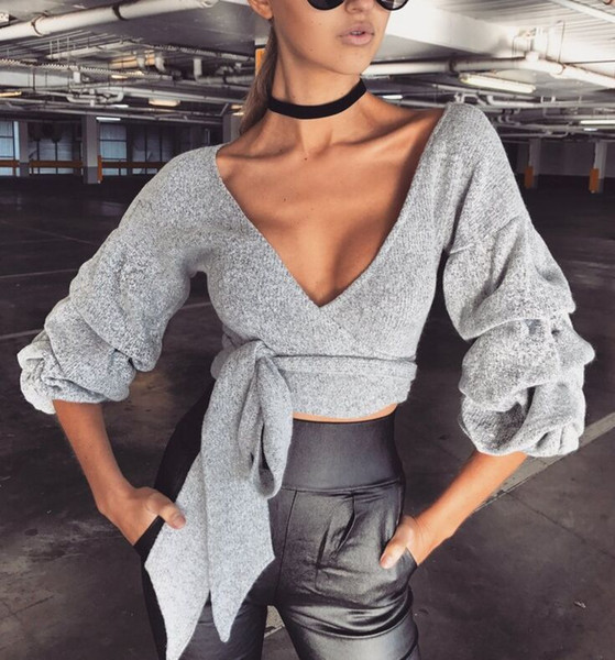 Sexy V-Neck T shirts Bow Tie Up Tunic Hem Slim Tee Tops Women Gray Elastic Pullover Shirt Female Autumn Tops for Women Clothing