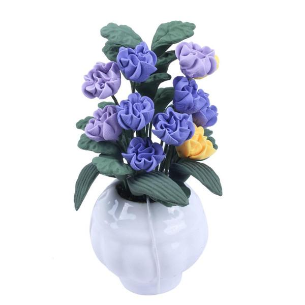 1/12 miniatura de casa de muñecas artesanal de arcilla magnolia y vegetación en jarrón blanco púrpura