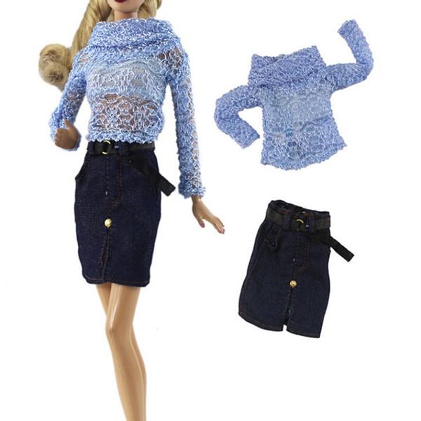 1 Set Blue Hollow Shirt Denim Belt Skirt Dress Doll Suit For 30cm 11 Inch Girl Dolls Pretend Toy Gift For Children