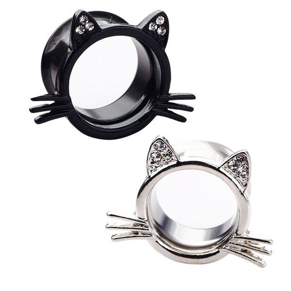 20шт уха датчики hello kitty беруши ушные туннели ювелирные изделия тела носилки из нержавеющей стали размер 6-20 мм большая серьга