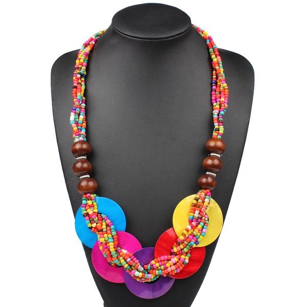 Per Caro Lydia, Collana con 4 perline in legno di conchiglia di piccoli pezzi N00491 + 4 pezzi di perline con piccoli gioielli di perline ANBE00001