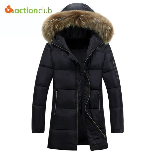 Wholesale- 2017 Winter Parka Long cotton men Jacket Fur Hood Plus Size XXXL Winter Jacket High Quality Fashion Men's Coat free shipping