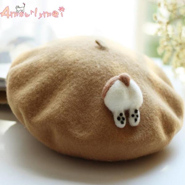 berets for sale Lolita Beret Cap Japanese Style Mori Girl Winter Warm Cute Corgi /Cat PP Hat For Women Wool Boina Hats