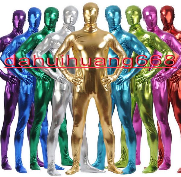 Nuovo 15 colori lucido vestito metallizzato tuta costumi unisex completo tuta costumi vestito sexy del corpo di Halloween Fancy Dress Cosplay costumi DH023