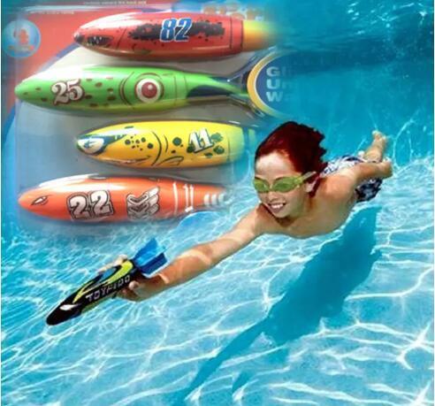 Torpedo Rockets Toy Torpedo Dive Swim Sticks Piscina Vasca da bagno Vasca da bagno Fun Nuoto Divertimento Scivola sotto l'acqua Giocattolo per bambini