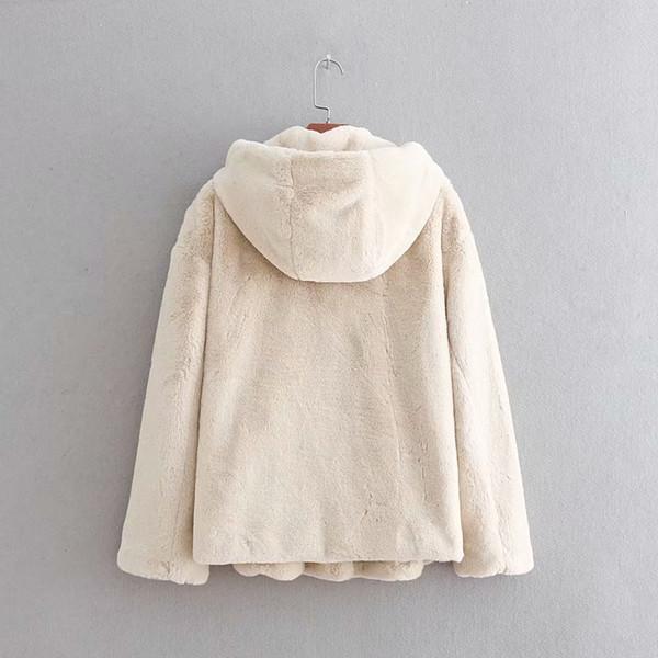 Großhandel GTGYFF Beige Schwarz Kapuze Kunstpelz Jacke Mantel Für Frauen Winter Warme Thermische Hoodies Pelzigen Jacken Mäntel Oberbekleidung