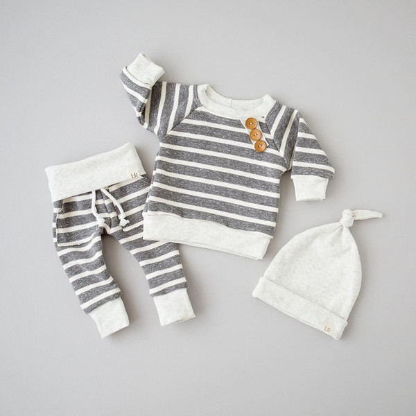 Infant Newborn Baby Boys Striped Gray Top Pants Hat 3Pcs Set Outfits Long Sleeve Brief Styles Kids Boy Clothes 0-18M