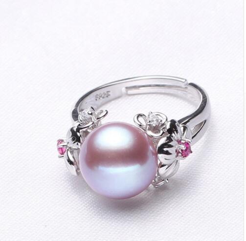 Gioielli in perle da 10-11mm, anelli di perle naturali per amore, anello in argento 925 con perla d'acqua dolce, anelli in argento con rubini per confezione regalo donna