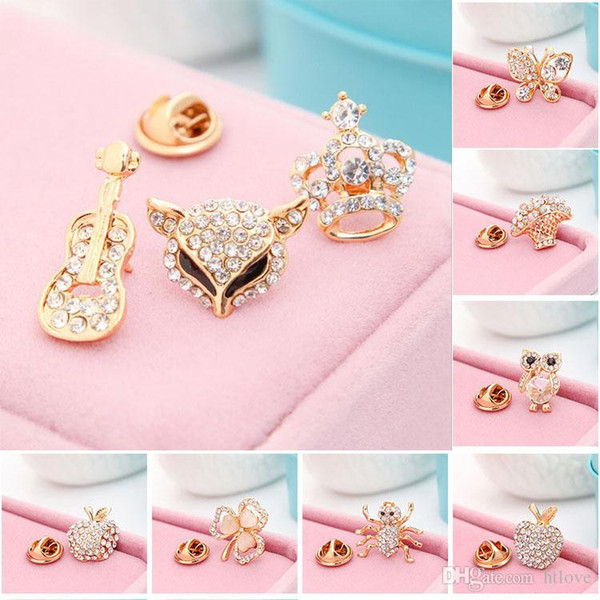 Crystal Mushroom Brooch Lady Girls Kid Brooches Diamond butterfly Owl Pin For Collar Suit Scarf Decoration Jewelry