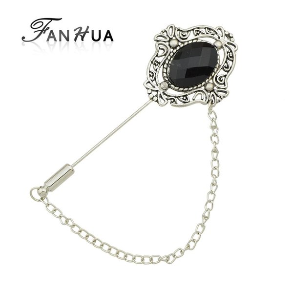 Wholesale- FANHUA Vintage Accessories Antique Silver Color with Black Beads Hollow out Flower Brooch with Chain for Women Girl's Gift