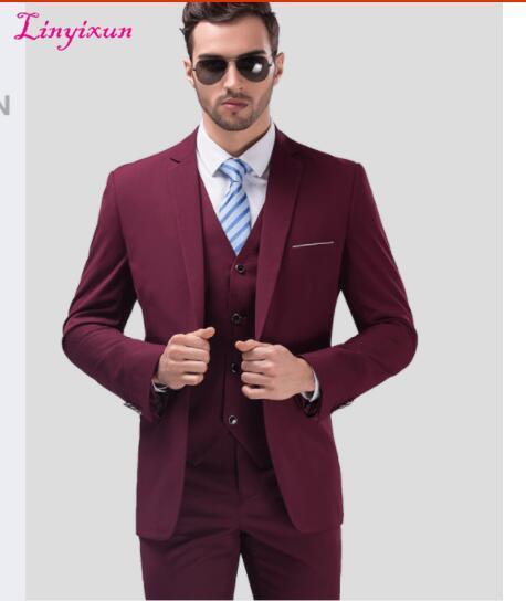Linyixun 2017 Mens Suits Wedding Groom Plus Size 3 Pieces(Jacket+Vest+Pant) Slim Fit Casual Tuxedo Suit Male