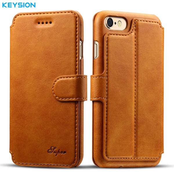 Keysion Business Case Pour Iphone 6 6s Plus Portefeuille Fentes Pour Cartes Pu Cuir Flip Case Kickstand Couverture Arrière Pour Iphone6 6plus