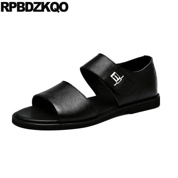 Open Toe Designer Shoes Men High Quality Slip On Fashion Black Casual Beach Italian Sandals 2018 Genuine Leather Flat Summer