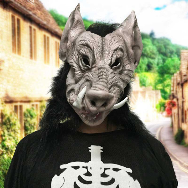 Latex Scary Boar Mask Horror Halloween Adult Full Face Pig Masks For Women Men Cosplay Costume Festival Party Supplies