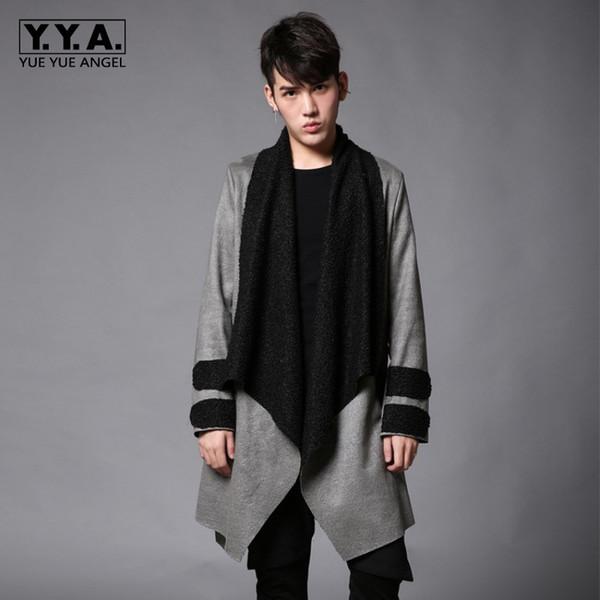 Long Wool Trench Coat Men Winter 2018 Hip Hop Windbreaker Jackets Fashion Gray Streetwear Fur Overcoats Warm Belted Coats Mens