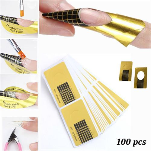 DIY Nail Art Golden Horseshoe Shape Nail Forms Sculpting Acrylic UV Gel Tips Extending Tools 100Pcs
