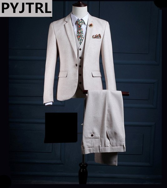 PYJTRL Brand High-end Beige White Three-piece Men Prom Suits Fashion England Wedding Groom Banquet Dress Suit Male