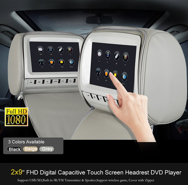 2x 9 inch Touch Screen Car DVD Player Headrest Pillow with USB SD FM IR Game Remote Control Rear-Seat Entertainment Grey Tan Black