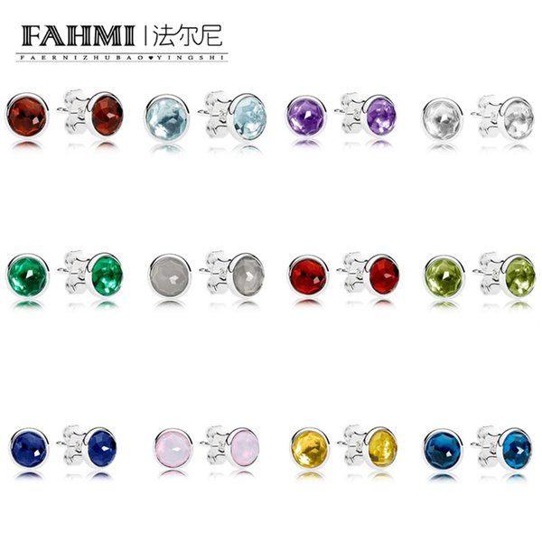 FAHMI 100% 925 Sterling Silver Charm NOVEMBER January JUNE MARCH DECEMBER OCTOBER MAY AUGUST APRIL FEBRUARY JULY DROPLETS EARRING STUDS